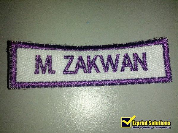 sulam name tag sekolah