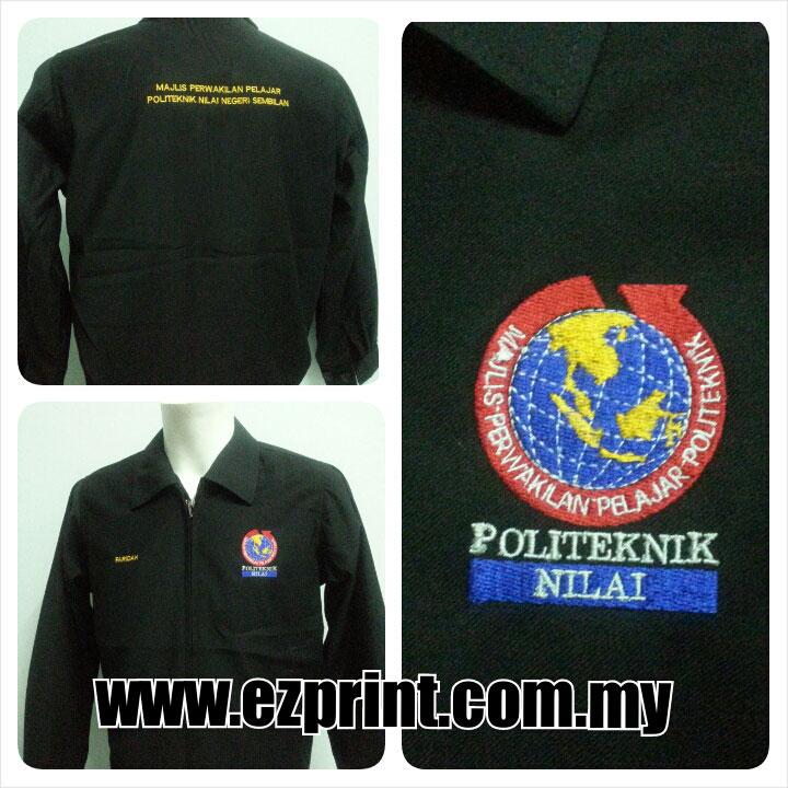 tempah jaket siap sulam logo politeknik