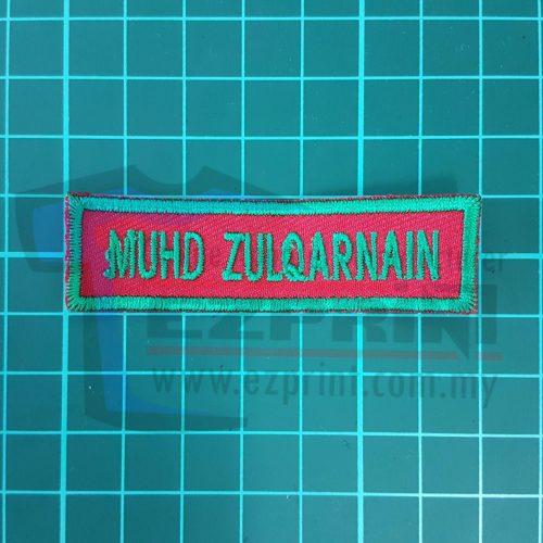 tag nama embroidery sekolah punya